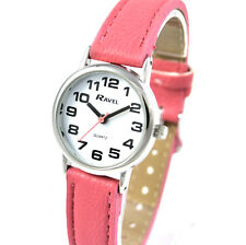 Ravel Ladies Super Bold Big Number Watch with Clear White Dial and Pink Strap