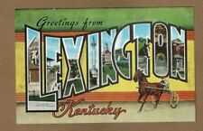 Lexington,KY Kentucky, Large Letters Linen LLL  not used, circa 1940's-1950's