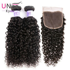 UNice 8A Indian Curly Human Hair Extensions 2 Bundles With Lace Closure Wefts US