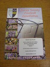 28/04/2013 programma CALCIO: SURREY COUNTY Youth CUP FINALS-Gioventù U11, U12 Y