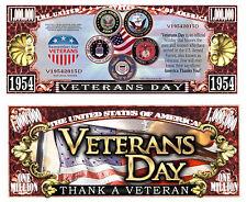 Veterans Day ~ Thank a Veteran ~ Million Dollar Bill Funny Money Novelty Note