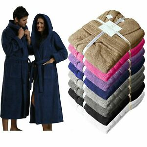 100% EGYPTIAN COTTON THICK SOFT TOWEL BATHROBE DRESSING GOWN HOODED UNISEX