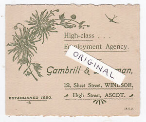 WINDSOR ASCOT GAMBRILL LAKEMAN EMPLOYMENT AGENCY AD CARD 1910 DOMESTIC SERVICE