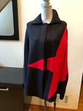 NEW CARA NEW YORK BLACK RED STAR CAPE PONCHO COAT