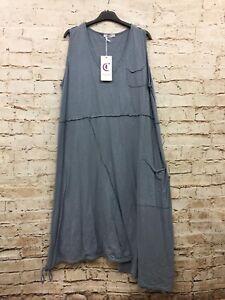 Moonshine Fashion Kleid Tunika Überwurf Lagenlook Übergröße 46 48 50 Neu blau