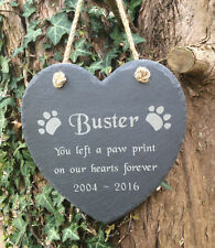 Personalised Hanging Slate Heart Pet Memorial Grave Marker Plaque Cat/ Dog