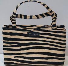 KATE SPADE Cream & Black Fabric Zebra Print Branded Small Tote Bag