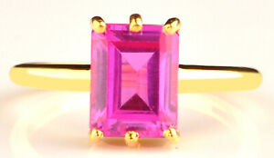 2.00Ct Rectangle Cut Natural African Pink Tourmaline Solitaire Ring In 14KT Gold