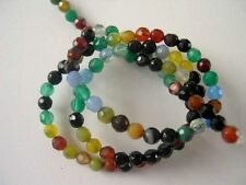 Multi color agate faceted round beads 4mm. Small gemstone beads. Full strand