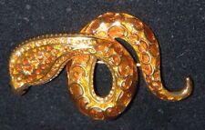 JOAN RIVERS Cobra Snake Pin Brooch Gold Amber Enamel & Rhinestones Excellent!