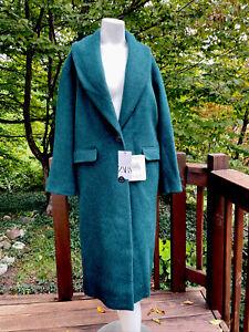 Zara Woman's Coat Emerald Green Tuxedo Shawl Collar Wool Blend Size XS NWT $199