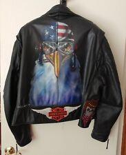 Customized Vintage Motorcycle Biker Leather Jacket - Airbrushed
