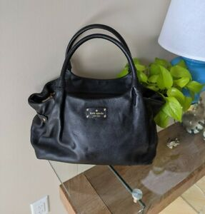 FLAWED Kate Spade Black Pebbled Leather Shoulder Bag Zip Top Missing Strap READ