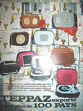PUBLICITE DE PRESSE TEPPAZ TRANSISTOR RADIO MODELE OSCAR TRANSIT FRENCH AD 1965