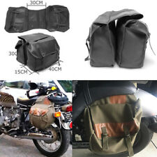 Canvas + leather Motorcycle Saddle Luggage Side Back Tail Pouch Storage Bag