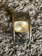 90s PECK & PECK Wide Silver Gold leaf carved cuff bracelet band WATCH