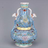 "9.4"" Collect Chinese Qing Dynasty Porcelain Famille Rose Ruyi bottle gourd Vase"