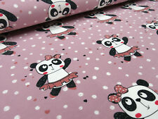 Stoff Baumwolle Jersey Ballerina Panda Bär Pünktchen rosa bunt Kinderstoff