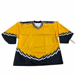 NEW Vintage CCM Hockey Jersey Mens XL Black Yellow White Striped V Neck Air-Knit
