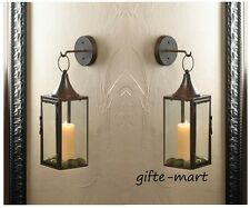 2 Brown Iron Al Sconce Wall Hook Hurricane Candle Holder Hanging Lantern