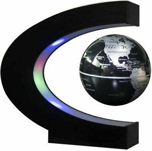 Home Magnetic Levitation Floating Earth Globe Map With C Shape Base LED Light