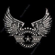 "Rhinestone Transfer "" Wings and Stars "" Iron On, Hotfix, Iron On LG"