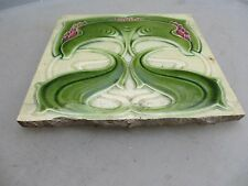 Antique Ceramic Tile Floral Art Nouveau Architectural Antique Vintage England