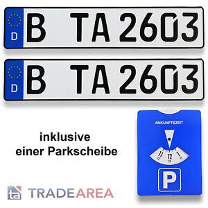 2 Standard Autokennzeichen   Nummernschild inklusive einer Parkscheibe