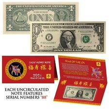 2021 Cny Chinese Year of the Ox Lucky Money U.S. $1 Bill w/ Red Folder - S/N 88