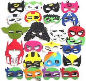 Kids Fancy Dress Face Masks-Boys Girls Superhero Felt Mask Party Movie Costume