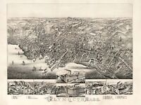 Map Plymouth Mass 1882 Vintage Picture Canvas Art Print