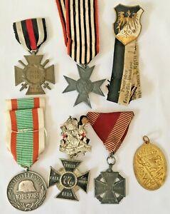 Medals Lot of Seven First World War German & Belgium Medals 1914-18 War