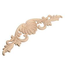 29*8cm Wood Carved Corner Onlay Applique Decor Furniture Craft Unpainted E5E6