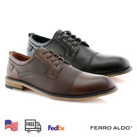 Men's Memory Foam Cap Toe Lace Up Embossed Derby Formal Business Suits Shoes