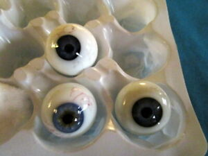 Lot  Antique mouth blown glass eyes -Germany -Lauscha-1900