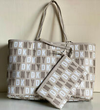 NEW DONNA KARAN DKNY N/S HQ COATED LOGO REVERSIBLE TOTE BAG W/ WRISTLET $95 SALE