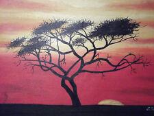 Peinture à l'Huile sur Toile - Arbre Africain Crépuscule Minimaliste - Original