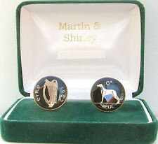 1962 IRELAND cufflinks made from OLD IRISH SIXPENCE in black & gold