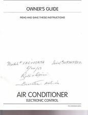 Frigidaire Room Air Conditioner Owner's Guide Instruction User's Manual A/C