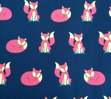CUTE FOX WOODLAND 100% cotton poplin fabric by the metre