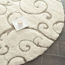 Geometric Pattern Cream Beige Color 5 Ft Round Fluffy Thick Shag Carpet Area Rug