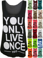 New Ladies Yolo Sleeveless Vest Womens You Only Live Once Print Muscle Back Top