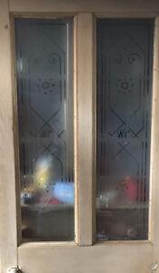 4 Panel Victorian Bathroom Door, With Original W.C. Acid Etched Glass