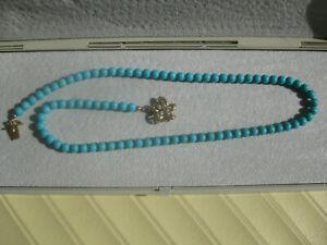 Türkis-Perlen-Collier-Luxuriöses Collier Verschluß 585 Gold m. Brillanten