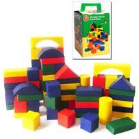 CHILDRENS 75PC WOODEN BUILDING BLOCKS KIDS COLOURED CONSTRUCTION TOY BRICKS SET
