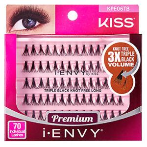 I ENVY BY KISS 70 INDIVIDUAL FALSE EYELASHES KPE06TB TRIPLE BLACK KNOT FREE LONG