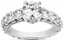 2.6 carat Round cut Graduated Diamond Ring 14k Gold Wedding Band, 1.1 ct center