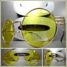 Men's Women CLASSIC VINTAGE RETRO Style SUN GLASSES Round Gold Frame Yellow Lens