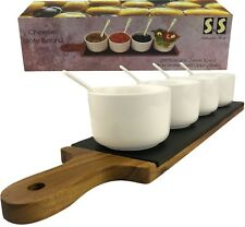 Acacia Wooden Tray Cheese Slate Board Set Long Dipping Round Bowls with Spoons