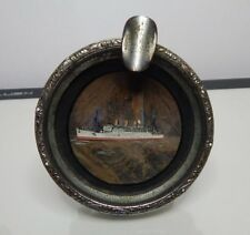 P&O Liner RMS Strathnaver Butterfly Wing Ashtray art Deco 1930's Chrome & glass